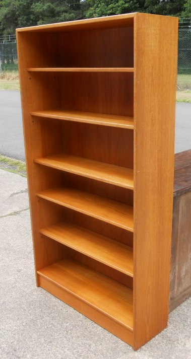 Retro Teak Tall Open Standing Bookcase Sold